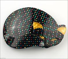 Lea Stein Figural Black Disco Gomina Sleeping Cat Pet Brooch Pin Plastic Paris | eBay