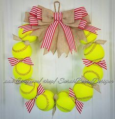 Softball Wreath  Made with REAL softballs Sports Wreath