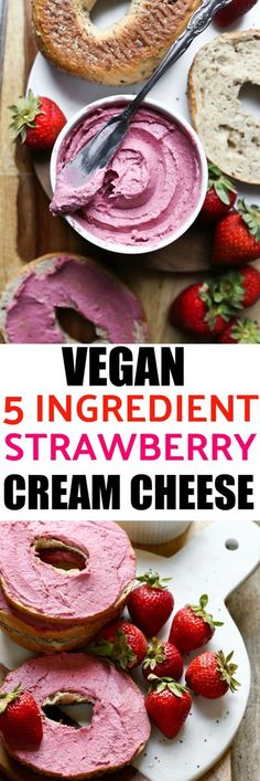 Vegan Strawberry Cream Cheese that is just 5 ingredients, takes 10 minutes to make and is incredibly rich in flavor! Made from freeze-dried strawberries, cashew butter, yogurt and lemon juice. You will love this thick, creamy and firm dairy-free cream che Vegan Sauces, Vegan Foods, Vegan Dishes, Vegan Desserts, Vegan Meals, Paleo Diet, Dairy Free Recipes, Vegan Recipes, Cooking Recipes