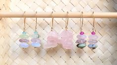 Rondelle Mixed Gemstones & Rose Quartz Chips Stacked Together Hanging on a Curved Back Kidney Handmade EarWires Made of 14K GoldFilled-WOW17 by designbyAnnaLisa on Etsy