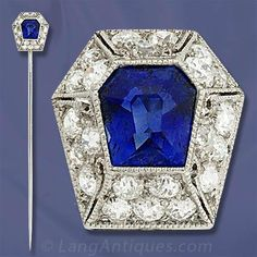 Art Deco Sapphire and Diamond Stickpin