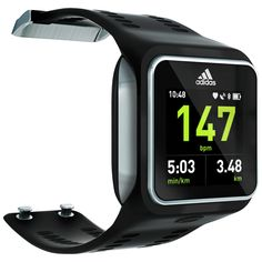 miCoach smart run watch from Adidas. Strapless continuous heart rate, GPS (GPS-based speed, distance, stride rate and route), Bluetooth, wireless music player.