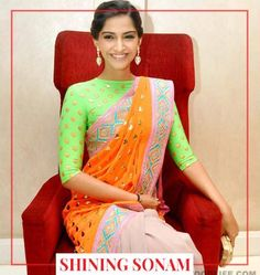 Desi Colors. The neon hues of this ensemble come together to create a truly enchanting look. The vibrancy of this look will surely turn a lot of heads wherever you go!  https://www.estrolo.com/whatstrending/cat/celeb-style/ #sonamkapoor #neon #saree #green #orange #EstroloFashion