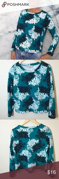 LOFT Teal Floral Sweater Gently loved sweater. Color is teal with black and white flowers.  • 100% cotton.  • Crewneck.  • Machine wash cold.  💕Offers welcome on single items and on bundles💕 🛍 15% off bundles of 2+ LOFT Sweaters Crew & Scoop Necks