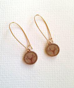 Golden Deer Long Earrings by earringsgirl on Etsy, $12.00