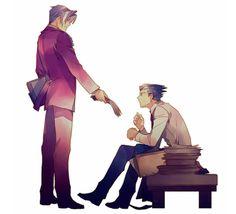 Ace Attorney   Gyakuten Saiban    Phoenix Wright & Miles Edgeworth   Ryuuichi Naruhodou & Reiji Mitsurugi   Anime   Fanart   SailorMeowMeow