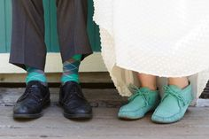 Turquoise Moccasins for the Bride and Turquoise Plaid Socks for the Groom