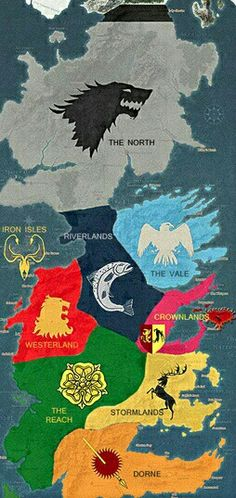 Game of Thrones. A song of ice and fire. Map of Westeros.