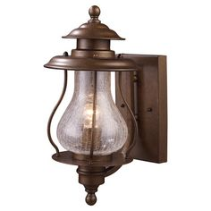 HOME DECOR – LIGHTING – SCONCE – Outdoor wall lantern in coffee bronze with a crackled blown glass shade.