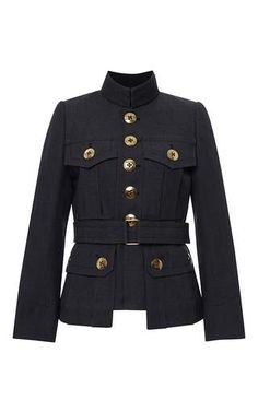 Blue wool melange military jacket by MARC JACOBS Available Now on Moda Operandi