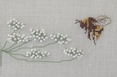 Embroidery, queen-anne's-lace and bumblebees, design by Thea Gouverneur (Dutch) - detail with seed pearls