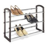 Found it at Wayfair - Three Tier Faux Leather Expanding Shoe Rack in Chrome