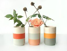 Set of 3 Painted Wooden Vases Home Decor orange