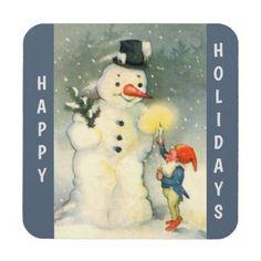 Retro Snowman and Elf Christmas Beverage Coaster - retro gifts style cyo diy special idea