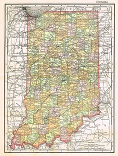 Vintage Indiana Map from Etsy seller bananastrudel Indiana Map, Indiana Love, Indiana Girl, Ohio River, Vintage Maps, Native American History, Covered Bridges, Cartography, Cemetery Records