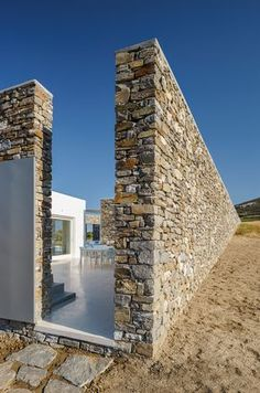 Architecture Design react architects integrates cycladic morphology into modern architecture Landscape Architecture, Interior Architecture, Public Architecture, Exterior Tradicional, Greece Design, Rustic Stone, Stone Houses, Exterior Design, Building