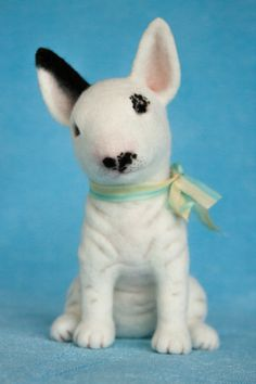 Realistic Needle felted bullterrier-READY TO SHIP -Pet portrait -soft sculpture -needle felted animal- Wool pet toy figurine - Handmade Ooak