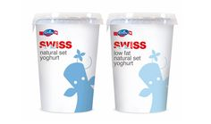 Packaging designed by Studio h for yoghurt range Swiss Plus from Emmi