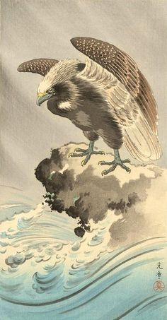 Eagle, by Tsuchiya Koitsu, 1930s -- See also at: http://www.koitsu.com/Untitled%20Eagle%20Print.htm