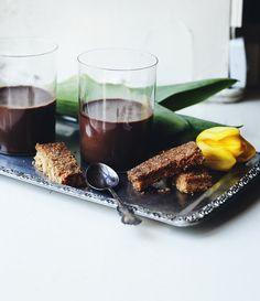 Nigel Slater's chocolate pannacotta with hazelnut fingers.