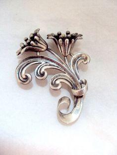 Vintage Double Bloom Sterling Silver Flower Pin by bitzofglitz4u