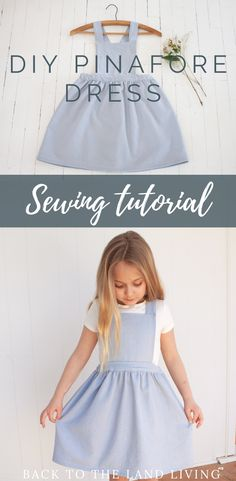 Toddler Dress Patterns, Baby Clothes Patterns, Sewing Patterns Girls, Little Girl Dress Patterns, Pinafore Dress Pattern, Girls Pinafore Dress, Dress Pattern Free, Dress Sewing Tutorials, Little Girl Dresses