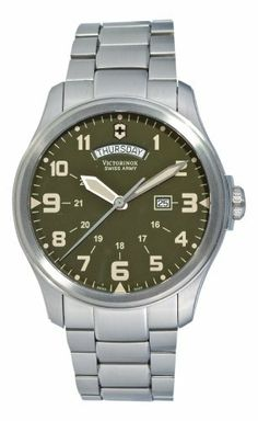 Victorinox Swiss Army Men's 241291 Infantry Vintage Green Stainless Steel Watch Victorinox Swiss Army. $399.00. Case diameter: 44 mm. Date and day of the week calendar. Stainless steel case. 24 hour time display. Water-resistant to 330 feet (100 M)