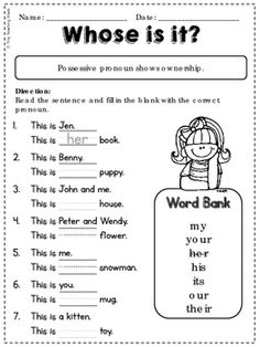 Possessive Pronoun Worksheets For Kids Possessive Nouns Worksheets, Adjective Worksheet, English Grammar Worksheets, Prepositions, First Grade Worksheets, Kindergarten Worksheets, Pronoun Activities, Teaching Pronouns, Second Grade Freebies