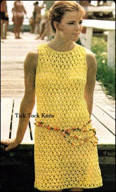 No.277 PDF Crochet Pattern Vintage - Women's Lattice Shell Dress - Retro Crochet Pattern - Instant Download