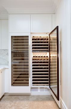 Sub-Zero Integrated Wine Refrigerators (ICB427G): Luxurious and High-tech, these wine fridges are the best on the market. From the kitchen designer's point of view, they are fantastic to work with as they integrate into the kitchen joinery perfectly (where most others fail). #WineFridges Wine Refrigerator, Wine Fridge, Pantry Design, Kitchen Design, Kitchen Appliance Storage, Kitchen Appliances, Kitchens, Kitchen Pantry, Kitchen Reno
