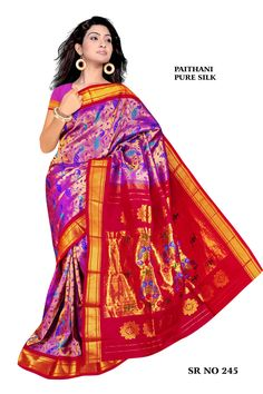 Violet and Red Brocade Paithani
