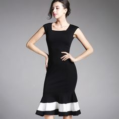 Vestido Vintage Square Collar Mermaid Mid Black Dress Sleeveless Striped Black White Women Dress Summer B221