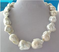 """Free shipping Miss charm Jew1095 Large White Unusual Baroque Pearl Necklace disc Clasp 18 """""""