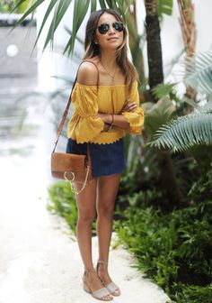 Sincerely Jules, bloggers style, revolve clothing off the shoulder mustard top, jeans skirt, grey open toe sandals, Chloe faye bag.