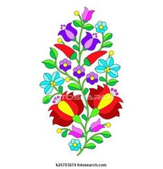 Hungarian Embroidery Patterns Clipart of Hungarian folk pattern - Kalocsai k25703674 - Search Clip Art, Illustration Murals, Drawings and Vector EPS Graphics Images - k25703674.eps - Vector background - traditional colorful pattern from Hungary isolated on white