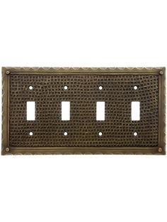 Switchplate. Bungalow Style Quad Toggle Switch Plate In Solid Cast Brass
