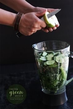 Think Green Juice: celery, green apple, kale leaves, cucumber, ginger,  spinach leaves, mint leaves, limes, stevia (or raw sugar) salt flakes, cold water, spirulina powder