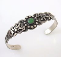 Vintage Fred Harvey Era Navajo Sterling Silver Turquoise Cuff Bracelet │RS O