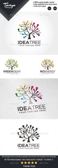 Idea Tree Logo Template — Vector EPS #friendly #green • Available here → https://graphicriver.net/item/idea-tree-logo-template/10126911?ref=pxcr