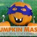 Pumpkin Mask - A quick and easy kids craft for Halloween. Decorate pumpkins with a permanent marker and add a fun mask.