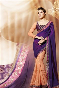 Georgette Purple, Orange Designer party wear saree