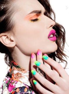 Bright colour blocking makeup and nails