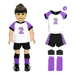 Pink Butterfly Closet Doll Clothes - 5 Pieces Soccer Outfit Set Fits American Girl Dolls Madame Alexander and other 18 inches Dolls
