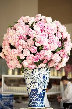 Pink flowers in blue and white