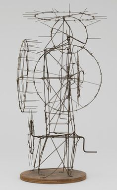 Wire, metal, and winch handle. 24 x 15 x 11 x 39 x cm). The Riklis Collection of McCrory Corporation. © 2020 Artists Rights Society (ARS), New York / ADAGP, Paris. Painting and Sculpture Jean Tinguely, Nouveau Realisme, Art Sculpture, Wire Sculptures, Abstract Sculpture, Bronze Sculpture, Moma Collection, Drawing Machine, Perpetual Motion