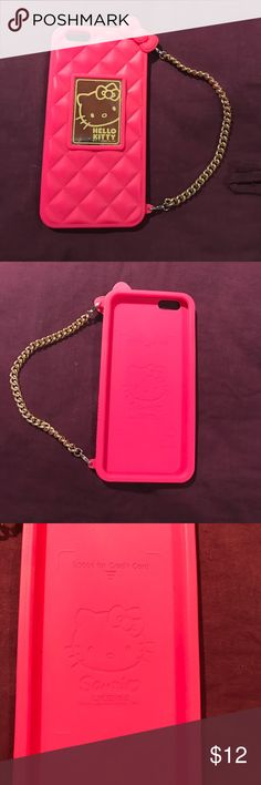 Hello Kitty iPhone 6 + case Great condition- this case is a rubbery texture with a chain link handle. Hello Kitty Accessories Phone Cases