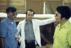 Title: A guest visiting the Jonestown clinic, with Dr. Larry Schacht (center) and Jim Jones (right), Jonestown, Guyana Creator/Contributor: Unknown Date: circa Contributing Institution: California Historical Society Cyanide Poison, Jonestown Massacre, Crime Scenes, Poisons, Historical Society, Larry, Clinic, Reading, People