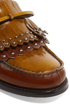 Church's - Rachel Studded Polished Leather Loafers - Tan - IT39.5