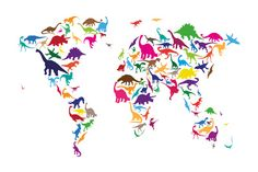 Dinosaur Map of the World Map.   Trykk på strukket lerret.