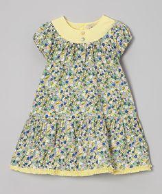 Green & Yellow Floral Drop-Waist Dress - Infant & Toddler by Alouette #zulily #zulilyfinds